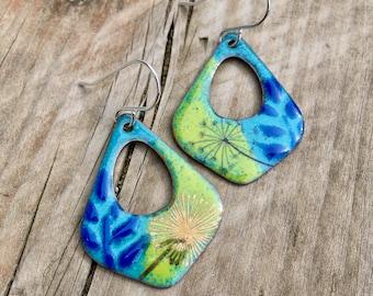 Hoop earrings / unusual hoops / blue earrings / green earrings / garden earrings / spring jewelry / unique earrings / handmade jewelry