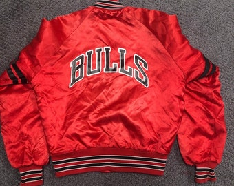 a421c283a753df Vintage Chicago Bulls Chalk Line Satin Jacket Boys Small Made in America
