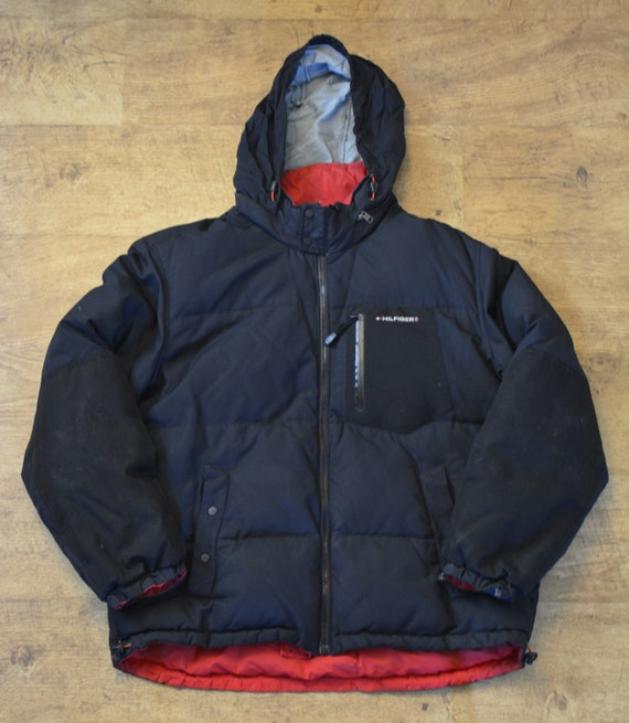 Tommy Hilfiger Black Men's Large Down Parka with Red Lining