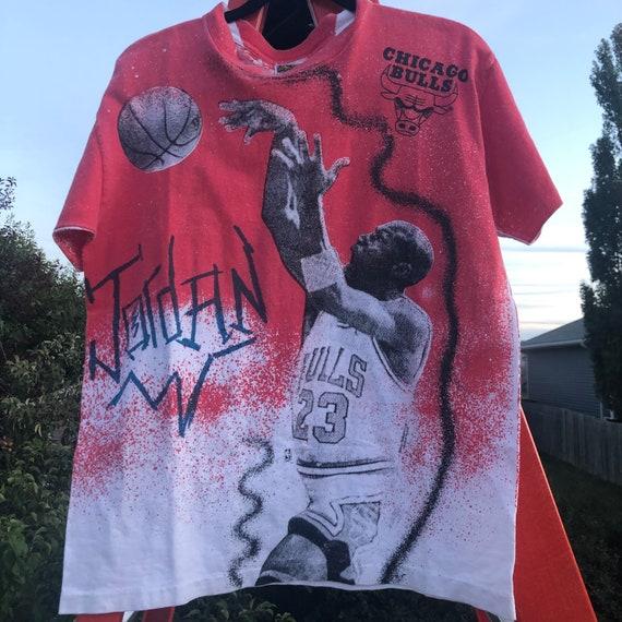 90s Michael Jordan All Over Print Magic Johnson T-