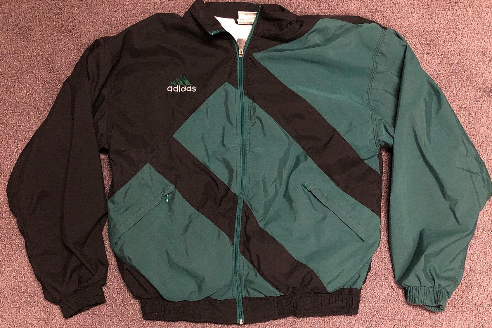 3bc98e3f1f616 Adidas Vintage 90s Pine Green Big Logo Full Zip Track Jacket Mens Medium
