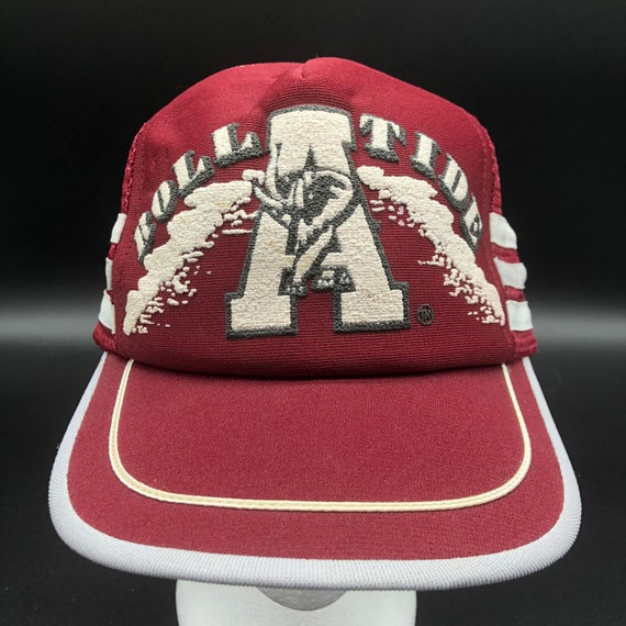 80s Roll Tide Alabama Snapback Trucker Hat 3 Strip