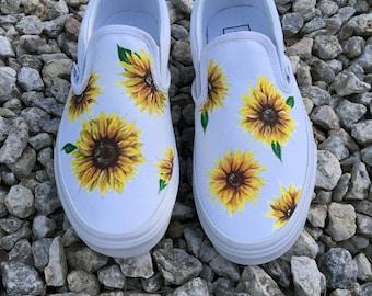 0212fb04681dd8 Custom Hand-painted Sunflower Vans Slip-On Shoes