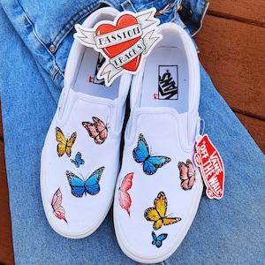 Butterfly Vans Hand-painted Custom Slip