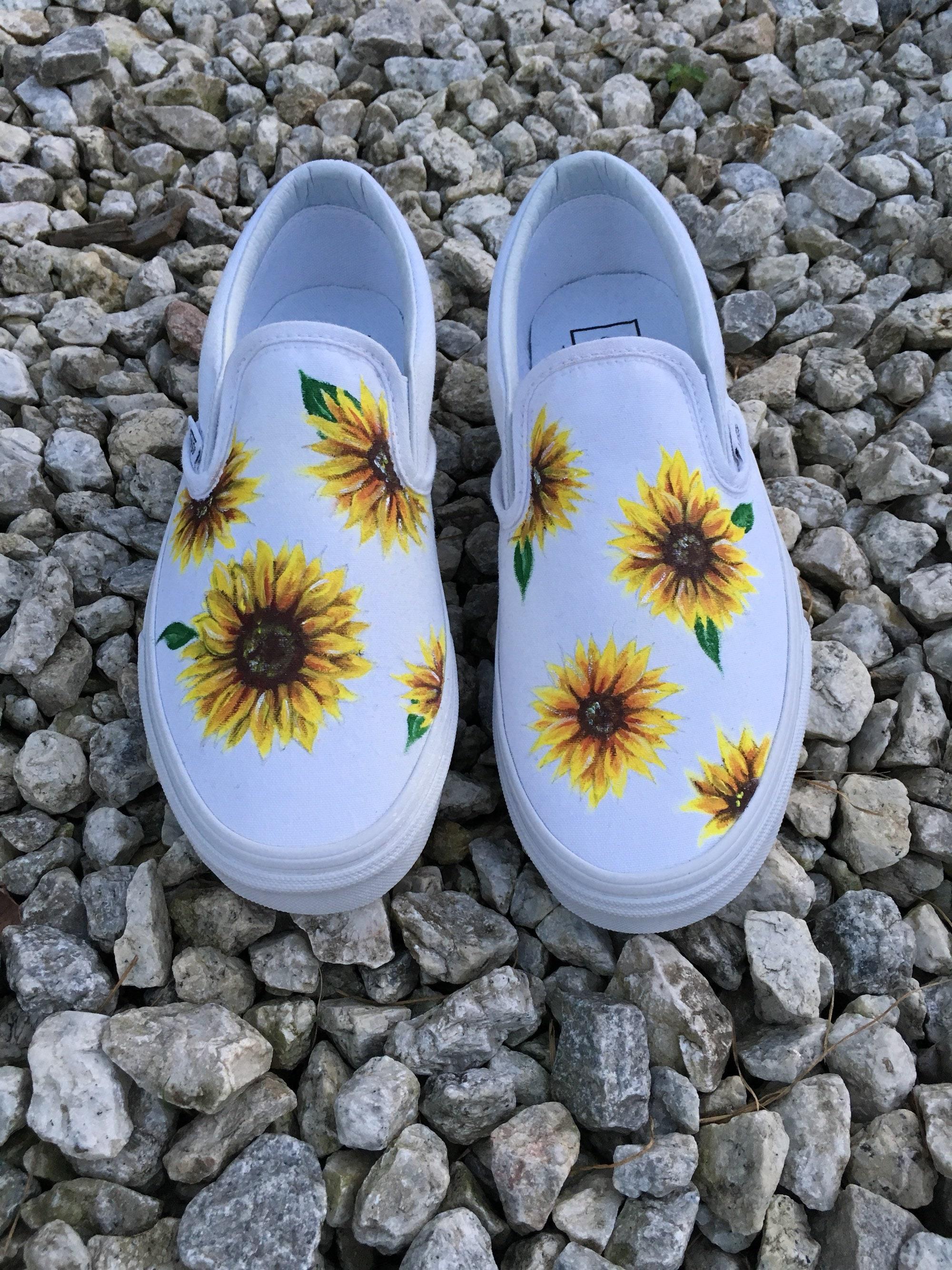 242b141df50ada Custom Hand-painted Sunflower Vans Slip-On Shoes