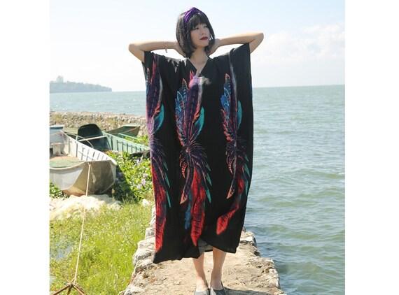 Womens Summer Retro Loose Fitting Oversized V Neck Irregular Robe Dress  Womans Casual Dress  Maxi Dress  Travel Dress  Dress For Women