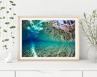 Ocean photography, underwater photo, wall art, ocean art, ocean print, underwater print, home decor, underwater wave, pristine underwater