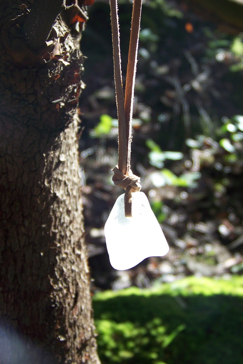Heavy Frosty White Authentic Sea Glass Necklace