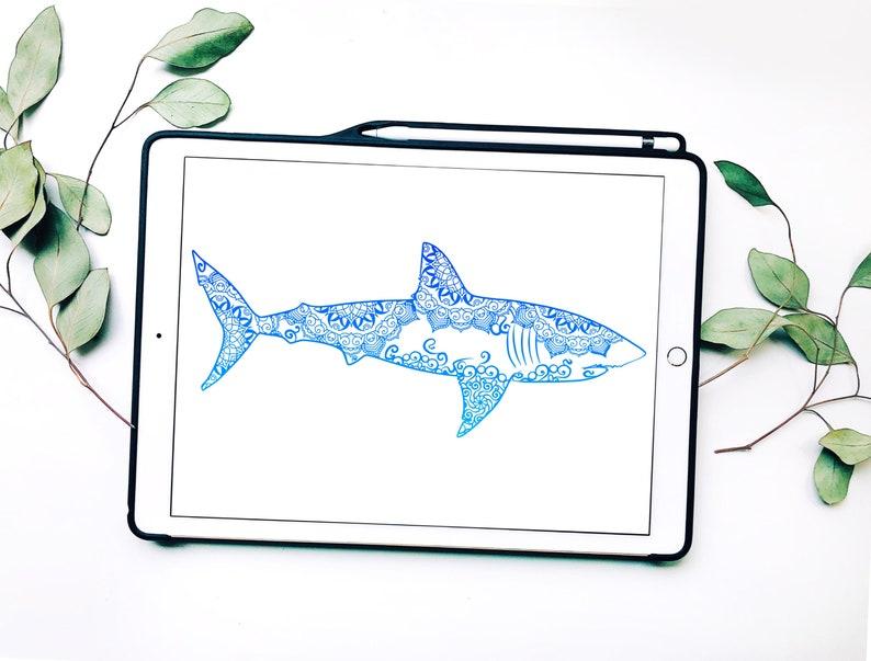 Shark Svg Mandala Svg Svg Files Zentangle Inspired Papercut Art Svg Svg Files For Cricut