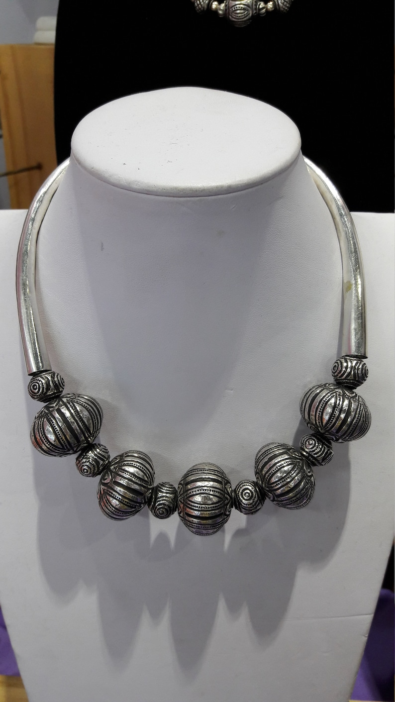 925 Genuine Sterling Silver Tribal Ethnic Thai Bead Mix Design Hand Emboss Choker Necklace 18 Long