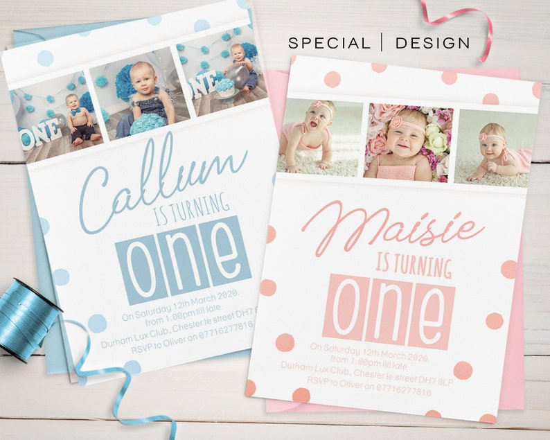 First Birthday Photo Personalised Invitations Cute 1st 2nd Custom 3rd Invite