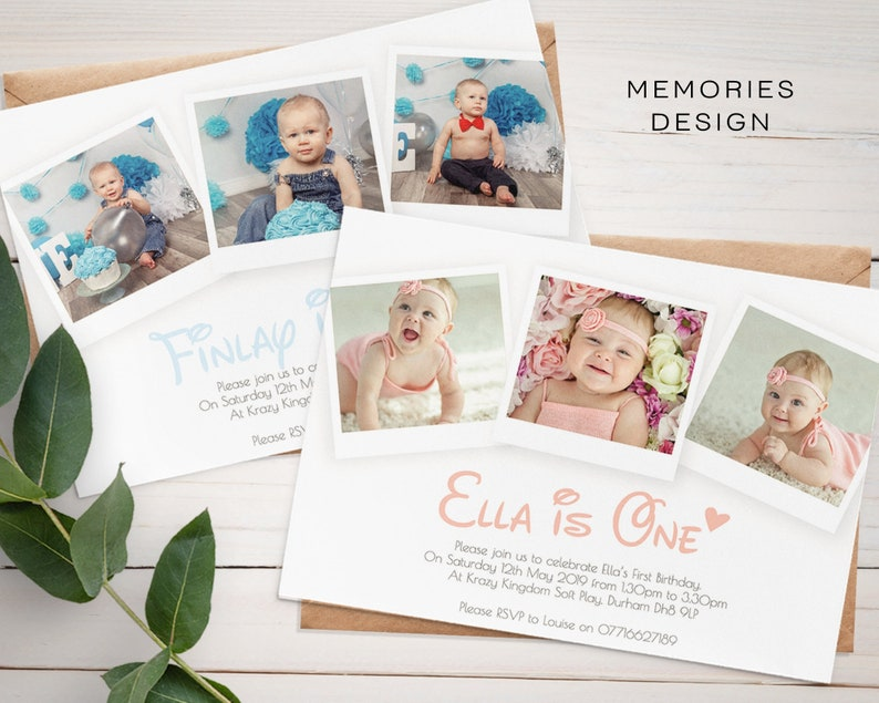 Personalised 1st Birthday Invitations Cute First Invites 2nd Photo