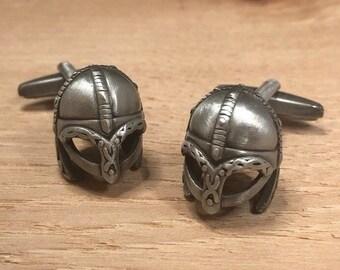 Antique silver cufflinks norse warrior cufflinks novelty cufflinks Antique Finish Viking Helmet Cufflinks gift for dad