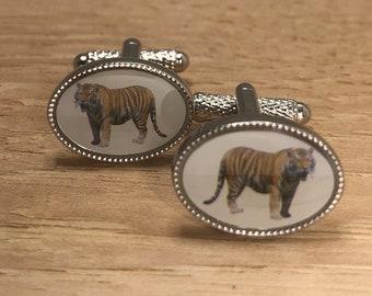 Tiger Pewter Safari Animal Big Cat Cufflinks Gift NEW