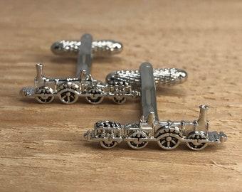 Steam Locomotive Wheel Cufflink in Hallmarked Sterling Silver