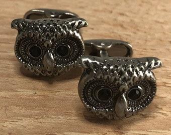 Wise Owl Men/'s Dress Cufflinks in Rustic Silver-Plate Silver Athena Greek Owl