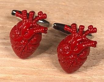 Surgeon cufflinks Heart cufflinks Medical cufflinks Red Hearts cufflinks