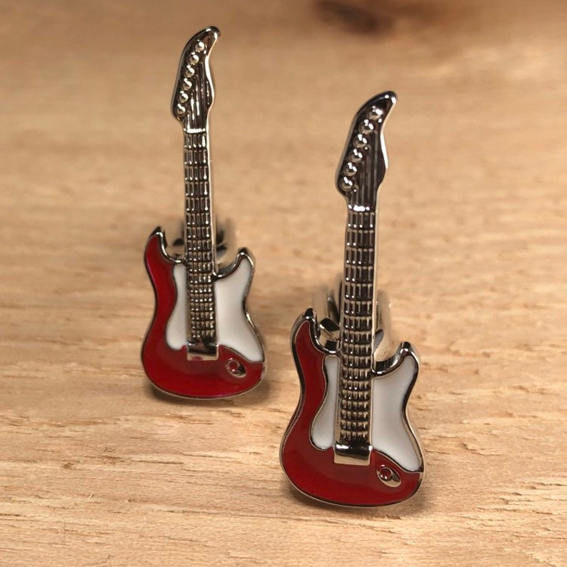 Electric Guitar Cufflinks  Red Electric Guitar  Lead Guitar Player  Musician Gifts  Rock and Roll Gifts
