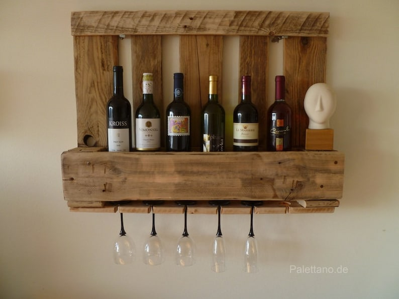 Small wine rack made of Euro pallets  pallet shelf  shelf  image 0