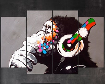 no frame Banksy Gorilla Wall Art Poster Print Monkey with Eyes Mask Printing Room Decor Chimp Street Graffiti Painting Picture Prints 20x30cm 7.8x11.8in