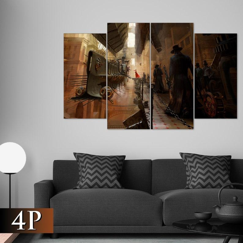 Steampunk canvas Futuristic print Dirigible print Steampunk image 0