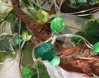 """Fairy lights with dyed silk cocoons """"Green"""""""