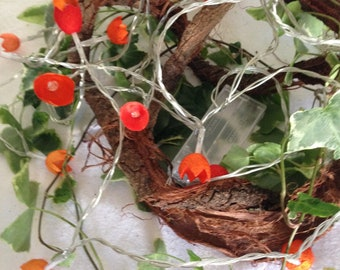 """Fairy lights with dyed silk cocoons """"Orange"""""""