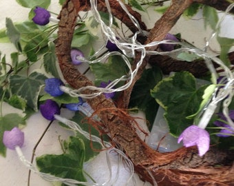 """Fairy lights with dyed silk cocoons """"Purple"""""""