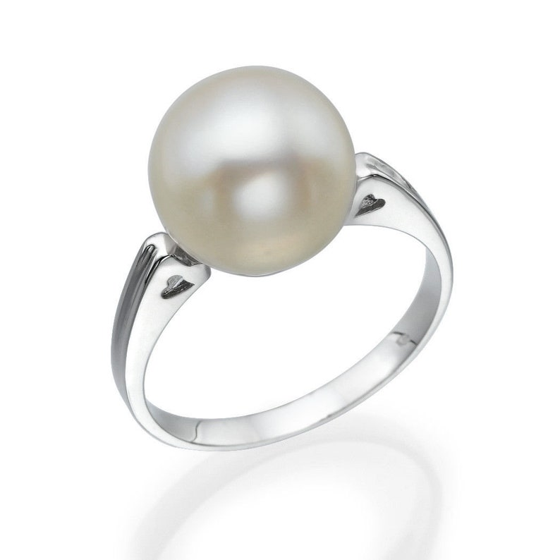 1.75 Carat Round Pearl Classic 9k White Gold Ring Valentine/'s Day gifts