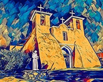 St Francis at Ranchos de Taos Photo - Art Series Premium Canvas Print or Matted Metallic Print Wall Art