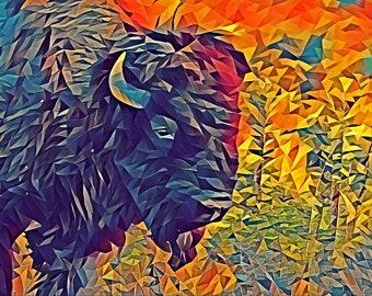 Bison Grazing Photo - Art Series Premium Canvas Print or Matted Metallic Print Wall Art