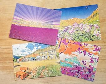 Folded Note Cards-Lake City Skyline, Uncompahgre Through the Aspens, Colorado Columbines, Lake City, CO - Blank Inside