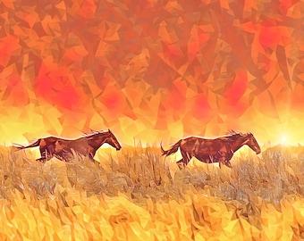 Wild Fire Free, Wild Horses Photo - Art Series Premium Canvas Print or Matted Metallic Print Wall Art
