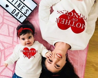 Valentine s Day Sweatshirts Queen Princess Heart Sweatshirt Shirts Mother  Daughter Matching Mommy and Me Sweatshirts Shirts Family Outfits b571f31af708