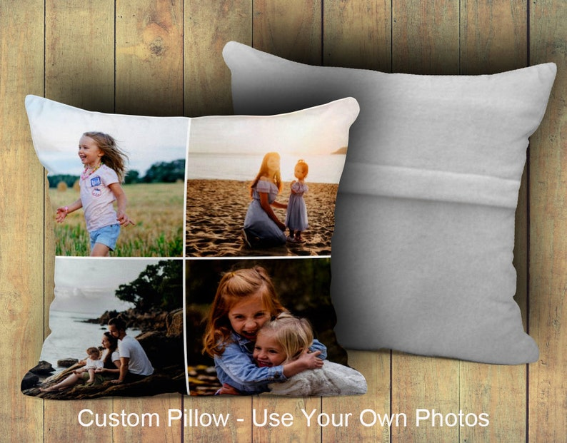 Picture Pillows Machine Washable Pillow Personalized Photo Pillow Custom Personalized Huggable Collage Pillow with Your Photos 12x12