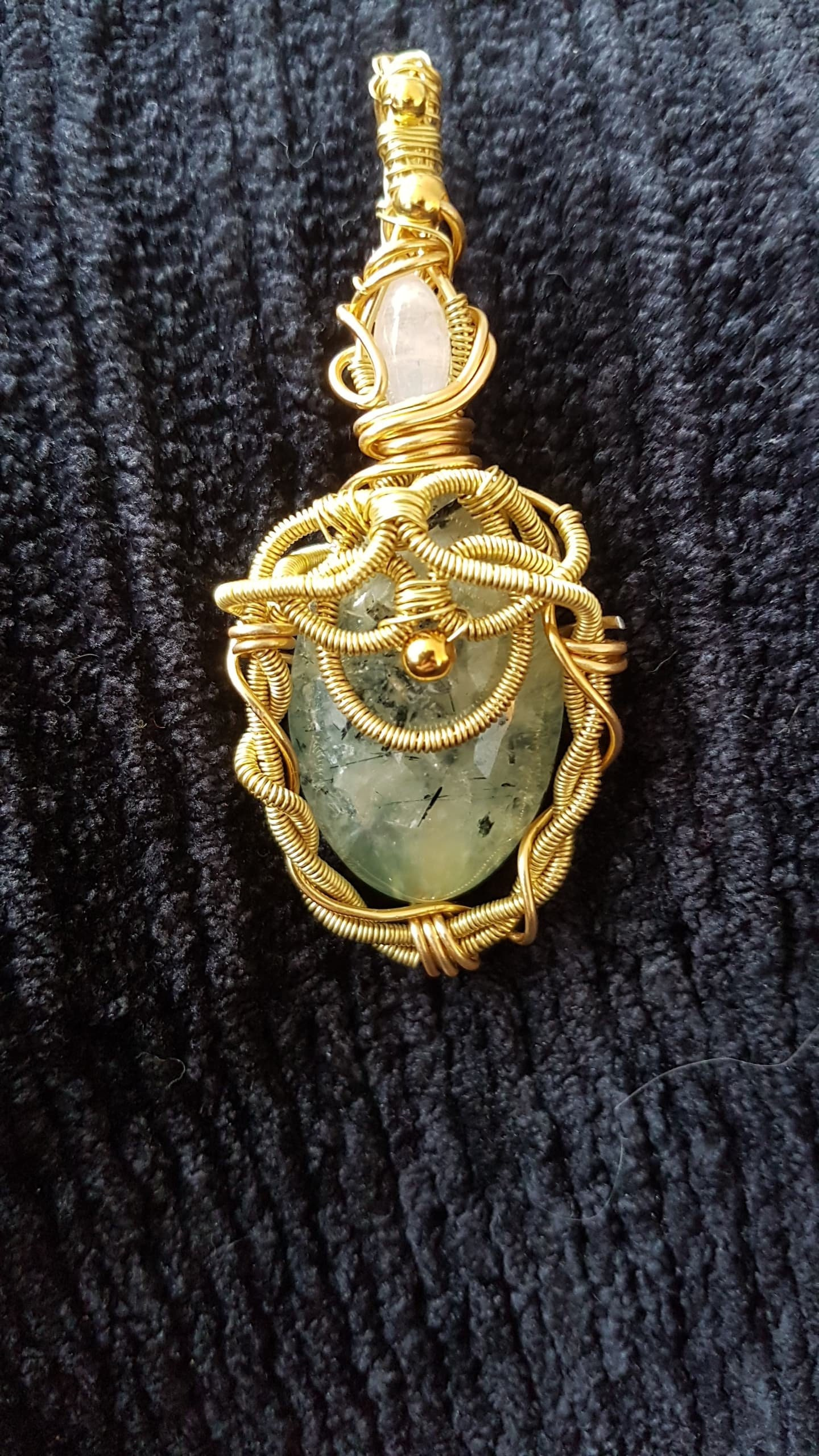 Bijoux pendentif prehnite et pierre de lune lune lune femme Wirewrap 691bf9