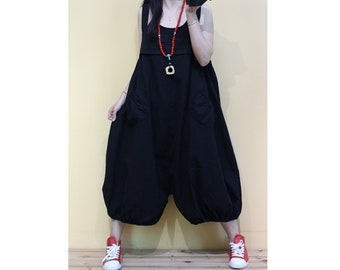 e0eaa96c1a Womens Retro Loose Fitting Black Overalls Jumpsuits With Pockets