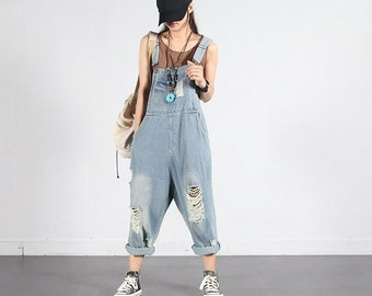 58b2e5b4a2 Womens Loose Fitting Ripped Jeans Overalls With Pockets   Casual Overalls    Harem Pants   Loose Pants   Summer Pants   Overalls For Women