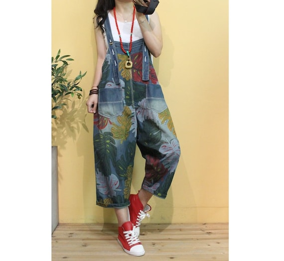Womens Loose Fitting Printed Floral Overalls With Pockets  Casual Overalls   Loose Pants  Harem Pants  Summer Pants  Overalls For Women