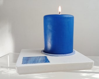 White and blue concrete centerpiece