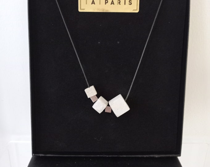 Cubes- Contemporary grey concrete necklace