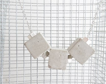 Concrete cube necklace, silver nuts, silver-plated chain - necklace concrete