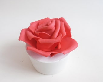 Life in Roses - Unique Rose on white concrete base -