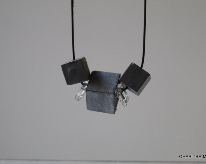 Cubes - Contemporary black concrete necklace