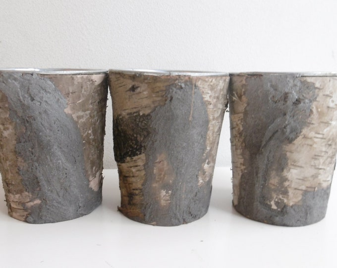 Set de trois caches - pots  écorce et béton