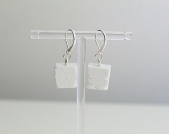 Hanging earrings - silver sleepers and white concrete pavement - concrete earrings