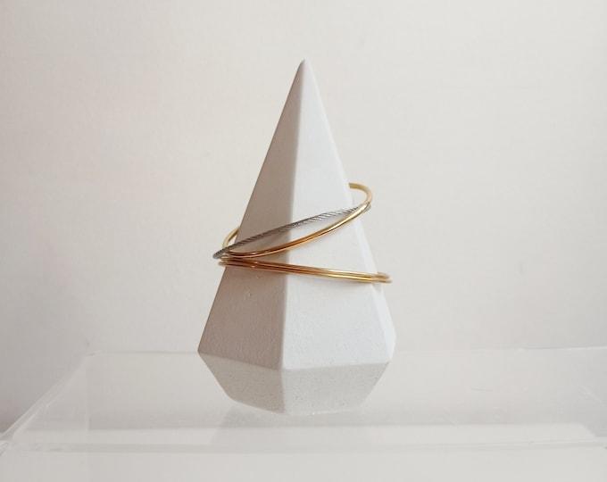 White concrete cone - jewelry holder