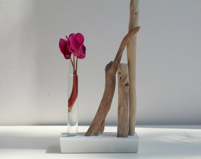 Composition - driftwood, soliflore glass and white concrete