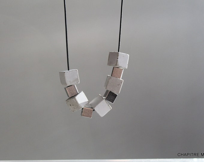 Cubes - Contemporary necklace in grey concrete and steel