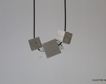 Cubes - Contemporary grey concrete necklace